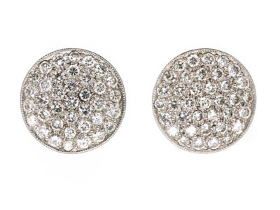 Art Deco Platinum & Diamond Round Earrings