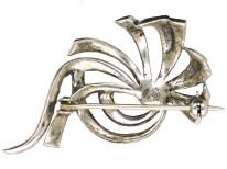 Retro Silver & Marcasite Stylised Flower Brooch