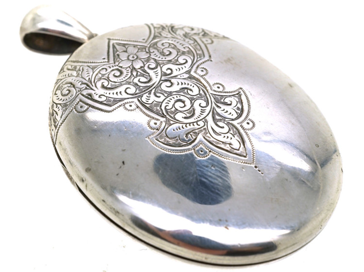 Victorian Engraved Silver Oval Locket