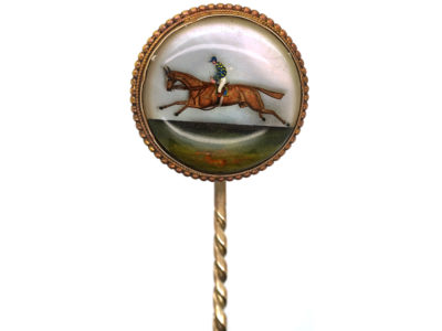 Victorian 18ct Gold Reverse Intaglio Rock Crystal Tie Pin of a Racehorse & Jockey in Original Case