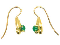 18ct Gold & Cabochon Emerald Earrings
