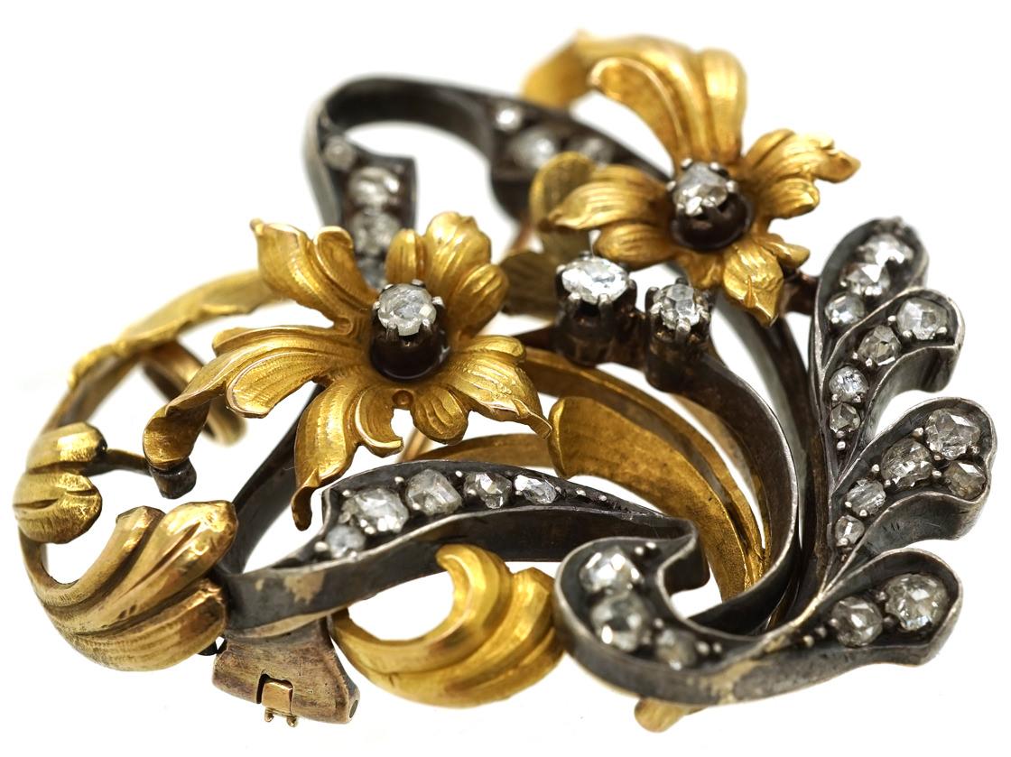 Belle Epoque 18ct Gold & Rose Diamond Flower Brooch