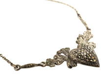 Art Deco Silver & Marcasite Heart Shaped Necklace