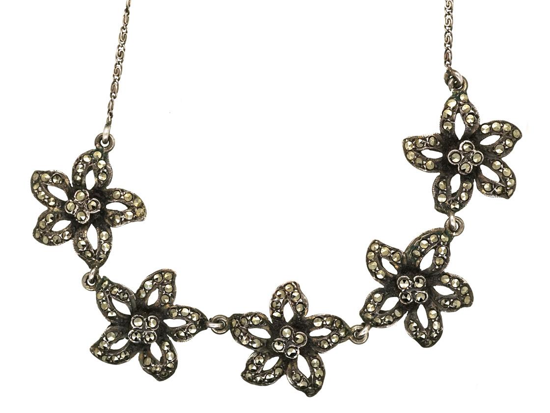 Art Deco Silver & Marcasite Flowers Necklace