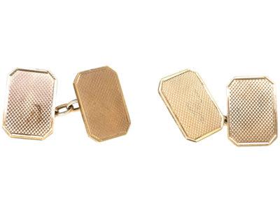Art Deco Silver & Gold Engine Turned Cufflinks