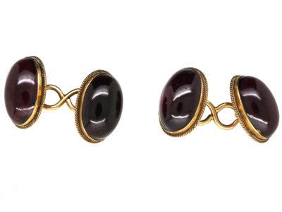 Victorian 15ct Gold & Cabochon Garnet Oval Cufflinks