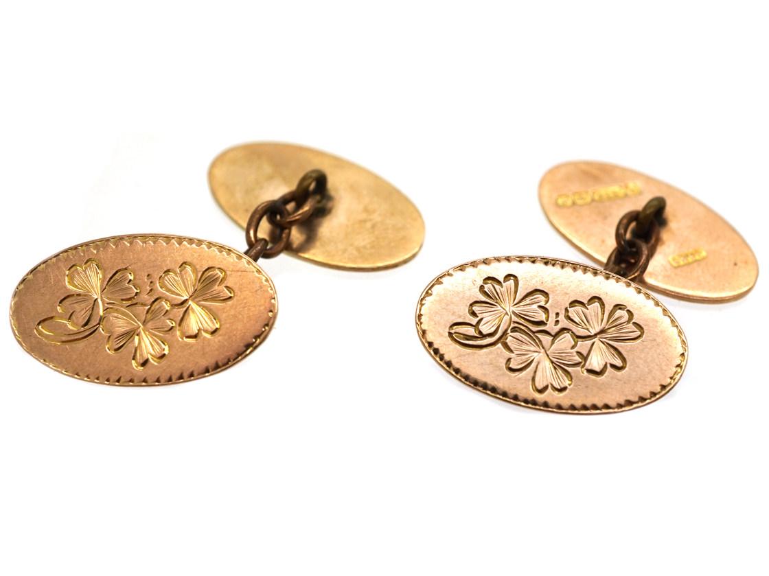 9ct Gold Three Leaf Clover Cufflinks