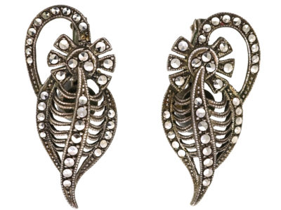 Art Deco Silver & Marcasite Clip On Earrings