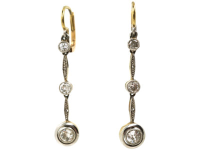 Art Deco 15ct Gold, Platinum & Diamond Triple Drop Earrings