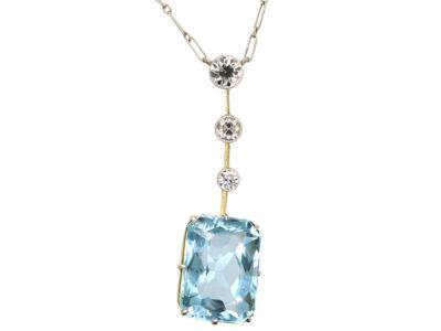 Art Deco Aquamarine & Diamond Pendant on Platinum Chain