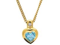 18ct Gold & Blue Zircon Diamond Heart Shaped Pendant on 9ct Gold Chain