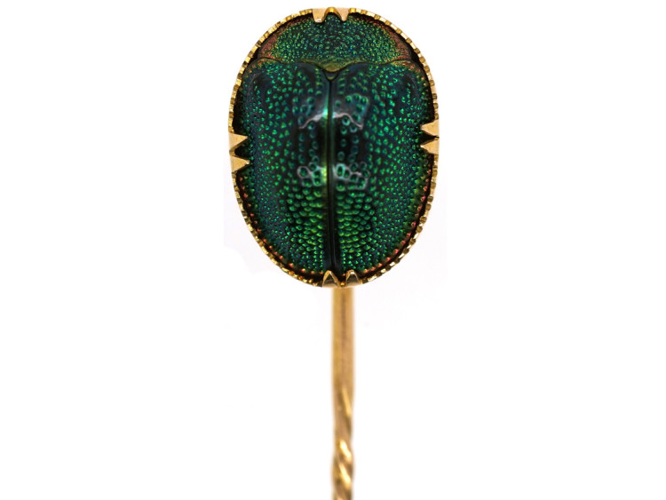 Victorian 9ct Gold, Scarab Beetle Tie Pin