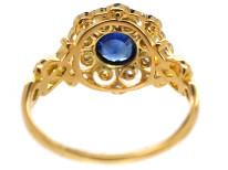 Edwardian 18ct Gold, Platinum, Sapphire & Diamond Cluster Ring