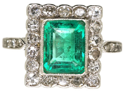 Art Deco 18ct Gold, Platinum, Emerald & Diamond Rectangular Ring