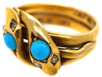 Victorian 18ct Gold Double Snake Ring set with Turquoise & Rose Diamonds