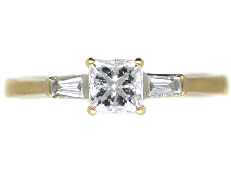 99e7494764199c 18ct White Gold French Cut Diamond Ring with Baguette Diamond ...