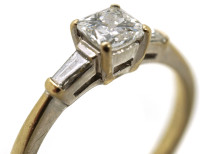 18ct White Gold French Cut Diamond Ring with Baguette Diamond Shoulders