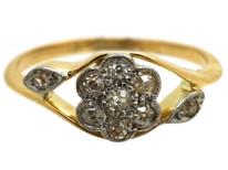 Edwardian 18ct Gold, Platinum, Diamond Cluster Ring with Diamond Set Shoulders