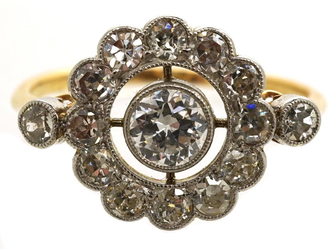 Edwardian 18ct Gold, Platinum &  Diamond Target Ring