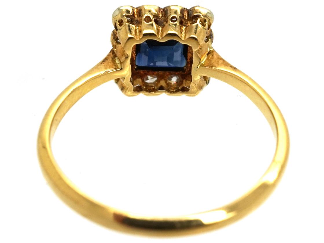 Art Deco 18ct Gold, Platinum, Sapphire & Diamond Square Ring