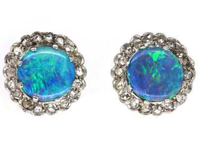 Art Deco 18ct White Gold, Opal Doublet & Rose Diamond Round Earrings