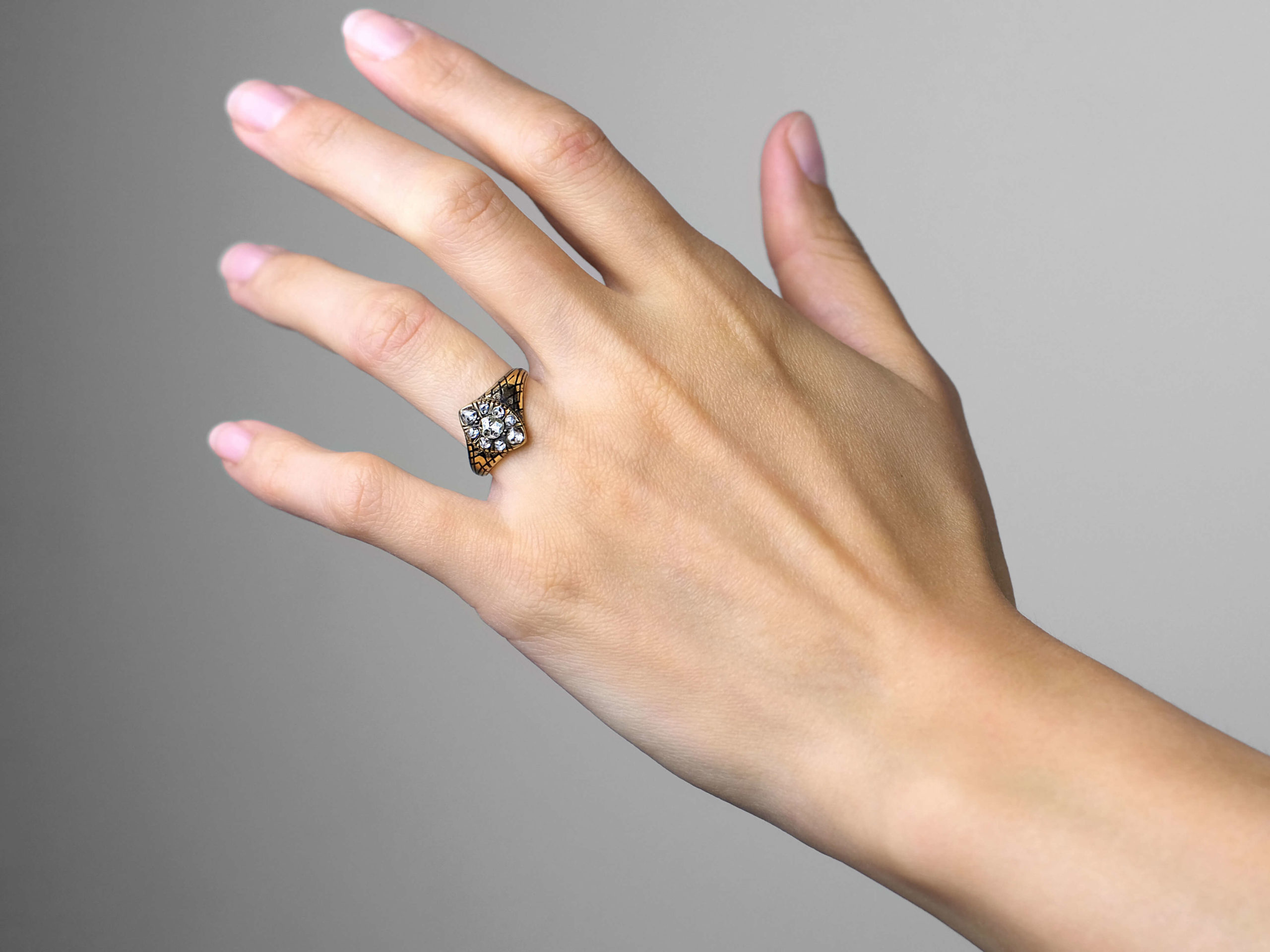 Victorian 18ct Gold & Black Enamel Marquise Ring set with Rose Diamonds
