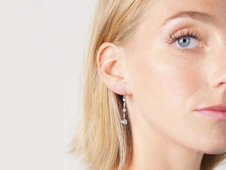 Art Deco 15ct Gold, Platinum & Diamond Triple Drop Earrings