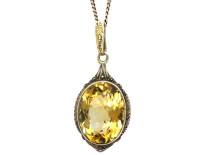 Silver Art Deco Pendant set with a Citrine on a Silver Chain
