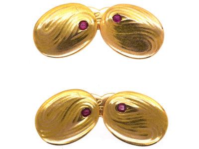 Art Nouveau 14ct Gold Cufflinks Set With Rubies