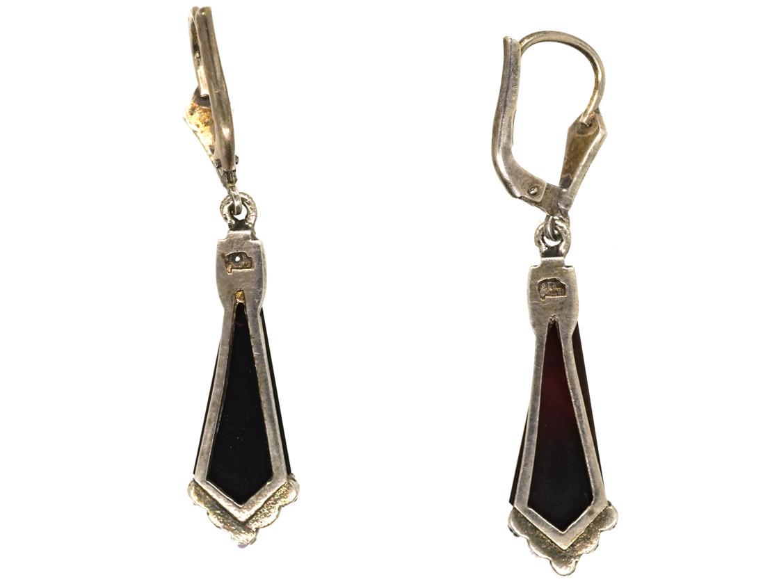 Art Deco Silver, Marcasite & Onyx Drop Earrings