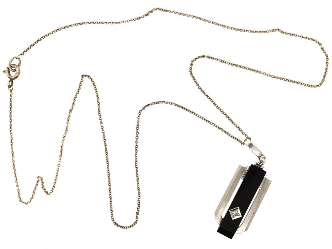 Art Deco Silver, Onyx & Diamond Pendant on a Silver Chain