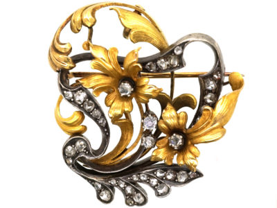 Belle Epoque 18ct Gold & Rose Diamond Flower Brooch