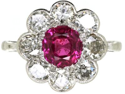 Edwardian 18ct White Gold, Platinum, Ruby & Diamond Cluster Ring