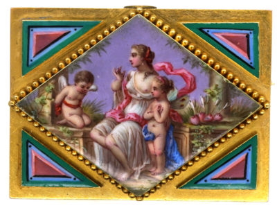 18ct Gold French Enamel Brooch Representing An Allegory of Love