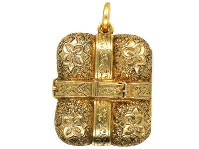Victorian 15ct Gold Buckle Design Rectangular Locket