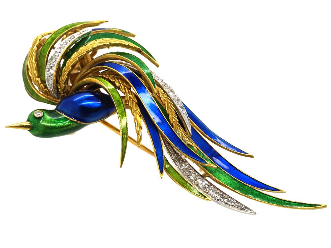 18ct Gold Enamel & Diamond Bird of Paradise Brooch