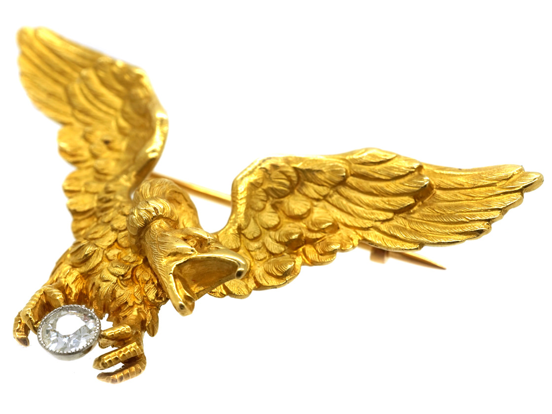 French 18ct Gold Eagle Brooch by Gaston Lafitte