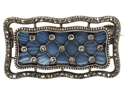 Edwardian Diamond & Eau-De-Nil Enamel Rectangular Brooch