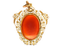 14ct Gold Classical Pendant of a Ladies Head