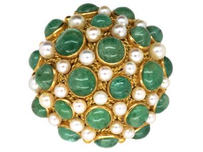 18ct Gold Emerald & Pearl Dome Brooch