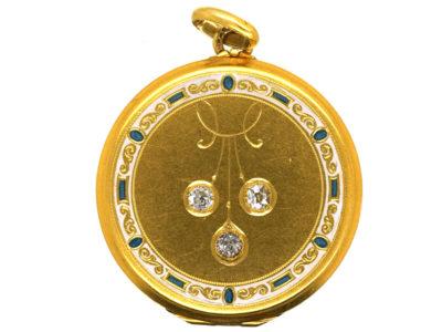 Art Deco 14ct Gold & Enamel Round Locket Set With Three Diamonds