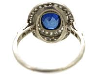 Edwardian Platinum, Sapphire & Diamond Oval Ring