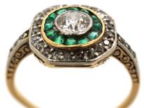 Art Deco 18ct Gold, Platinum, Octagonal Shaped Emerald & Diamond Target Ring