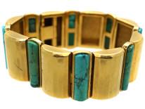Art Deco 18ct Gold & Turquoise Bracelet