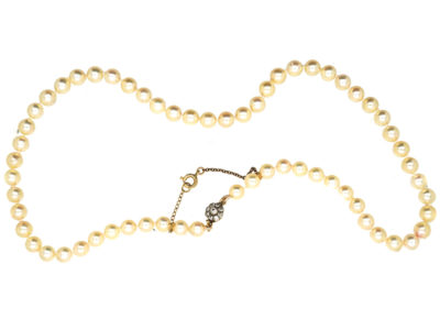 Pearl Necklace with Diamond Cluster Clasp