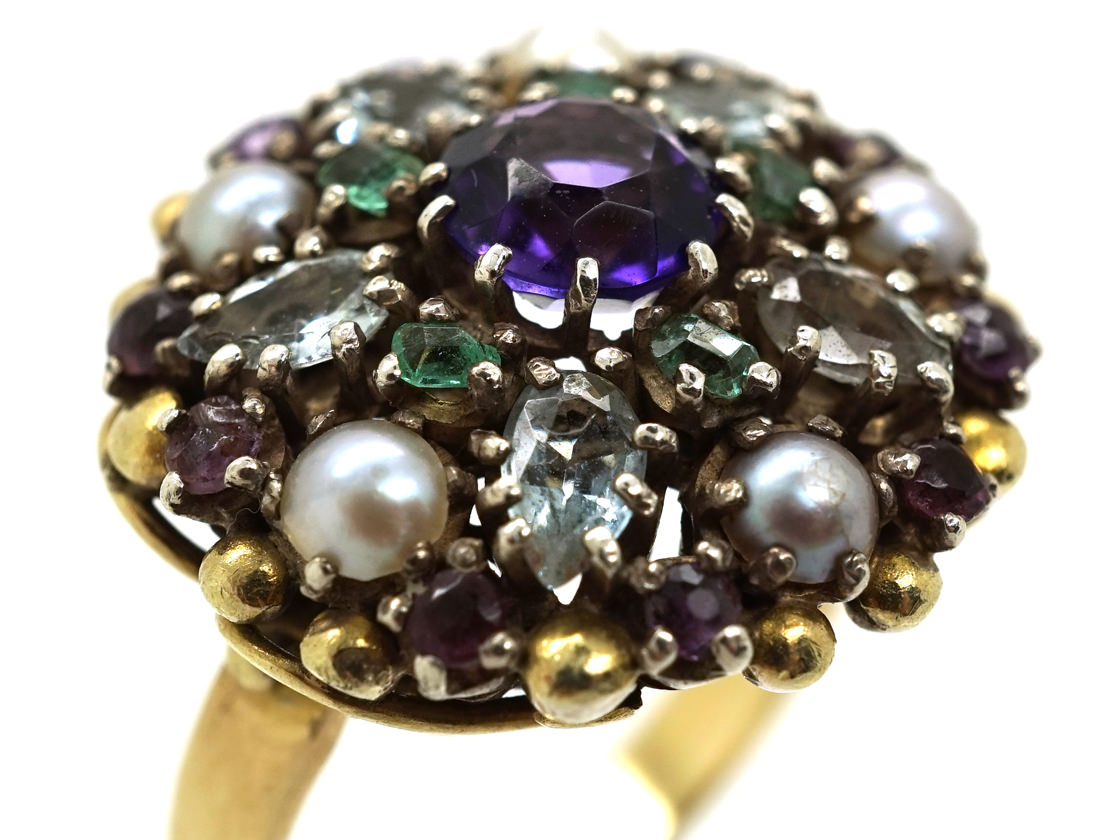 Gold & Silver Multi Gem Ring by Dore Nossiter