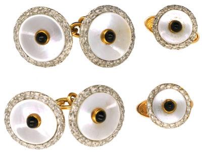 Art Deco 18ct Gold, Platinum, & Cabochon Sapphire Cufflinks & Studs Dress Set
