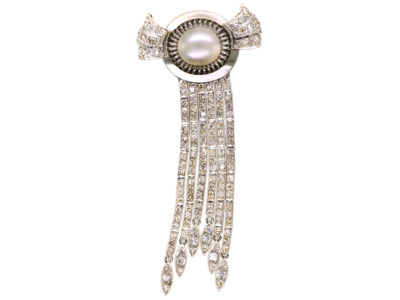 Art Deco 18ct White Gold, Diamond & Pearl Cascade Brooch