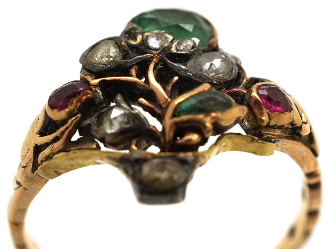 Georgian Gold , Emerald, Ruby & Rose Diamond Giardinetti Ring