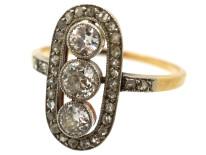 Art Deco 18ct Gold, Platinum & Three Stone Diamond Oval Ring